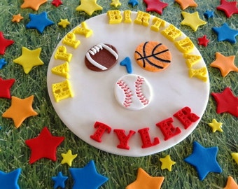 """6"""" Fondant edible cake topper + 30 stars for decorating your cake and/or cupcakes-Sport party, sport birthday,baseball,football,basketball"""