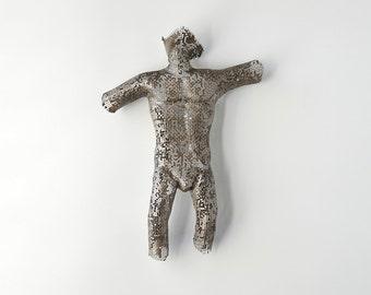 Miniature nude man - torso - abstract sculpture - Metal wall art - wire mesh sculpture - home decor - metal art sculpture