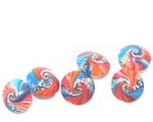 Focal beads with silver touch, set of 6 elegant beads in blue and orange, Polymer Clay swirl lentil beads, Jewelry supplies