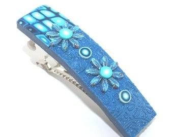 Hair jewelry barrette, Polymer clay barrette, blue elegant barrette, turquoise unique barrette, dark blue and white