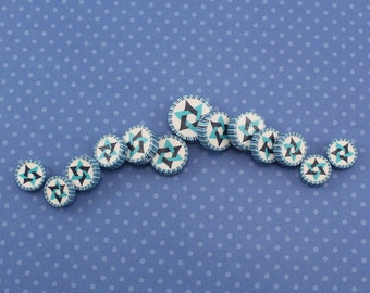 Star of David beads, Jewish Symbol in blues turquoise and white, polymer clay round flat beads, set of 13 Polymer clay beads