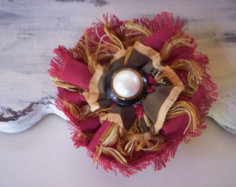 Fall Shabby fabric flower ponytail holder/Button flower brooch & hair band/Shabby fabric flower brooch/Fabric Flower pin/Hair rubber band