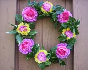 Chic Flower wreath/Floral wreath/Spring flower chic wreath/Summer flower wreath/Shabby chic wreath/Summer Door wreath/Mother's day wreath