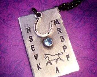 Handmade dressage necklace - dressage arena - horse lover - equestrian - horseshoe - dressage queen