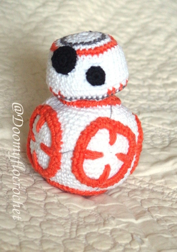 Droid BB8 amigurumi cotton crocheted toy by Doomyflocrochet