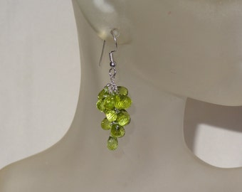 Sterling Silver Peridot Briolette Dangle Earrings