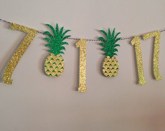 Save the Date Pineapple Banner | Engagement Pictures | Bridal Shower Decorations | Bachelorette Parties | Tropical Bridal Shower