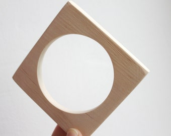10 mm Wooden square bangle unfinished - natural eco friendly