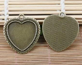 3pcs antiqued bronze heart shaped 25*23mm cabochon setting DIY EF2118