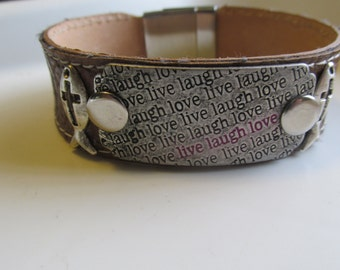 Men's Leather Bracelet, Live,Laugh and Love Bracelet,