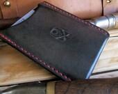Cartiglio del Destino Midnight Skull & Crossbones Vintage Allison Leatherworks USA handmade handstitched Slimline Wallet Cardholder