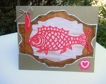April Fools Day Card, Fish Card, Tavern Sign, Birthday Card, All Occasion Scherenschnitte German Paper Cut (Handmade Greeting)