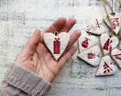 Christmas ornaments Christmas decoration rustic cottage chic shabby chic red white gold Scandinavian Scandi
