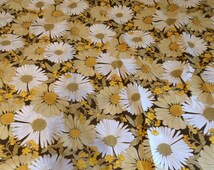 Retro Floral Fabric - Two Pieces Over 2 Metres Wide! - 1970's Floral Curtains - Mustard Yellow and Brown Fabric - Retro Upholstery Project