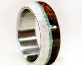 Mens Wedding Band Wood w/ Antler & Turquoise - Staghead Designs