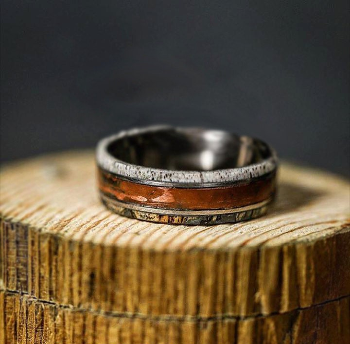 Mens wedding band patina copper spalted maple by for Mens copper wedding rings