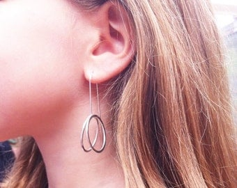 Silver circle earrings - hoop earrings - open circle dangle and drop - minimalist jewellery -  gift for her - 3D earrings - long earrings