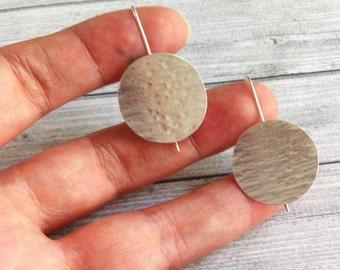 Silver circle earrings - geometric hammered earrings - hook circle earrings - dangle and drop - moon