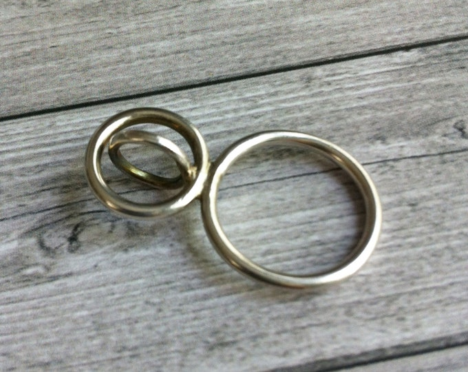 Statement silver ring open circles -geometric ring - contemporary orb -circle ring -hoop ring -bubble ring- gift for her -unique simple ring