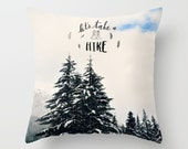 Throw Pillow, Cover, Case, Home Decor, Snowy Mountain Treescape, Hike,  Photography by RDelean