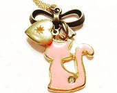 Cat lover necklace for girls- keepsake necklace- vintage locket- heart locket necklace- cat necklace- gift for girl