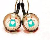 Jewelry for mom- earrings for mom- little girl earrings- cabochon earrings-small earrings- gift for her