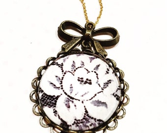 lace flower necklace-  necklace- romantic necklace- romantic jewelry-gift for her
