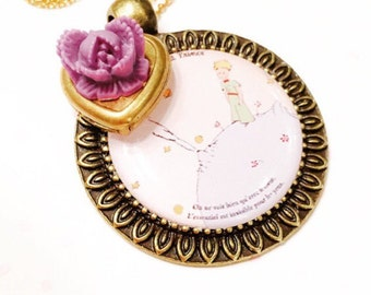 The little prince necklace- the little prince jewelry- little girl gift-children book necklace-cabochon necklace