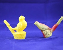 Vintage Warbler Bird Water Whistle and Yellow Bird Whistle
