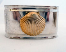 Vintage Silver Brass Sea Shell Napkin Rings