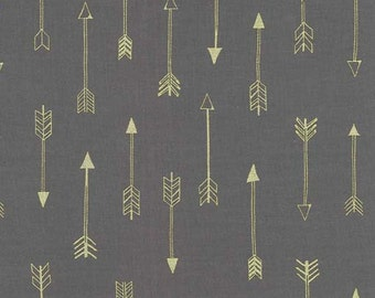 Arrows in Coin Metallic - Arrow Flight collection by Michael Miller fabric