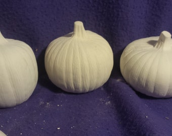 "Plain Pumpkins set of 3 ready to paint ceramic bisque 3"" to 4"""
