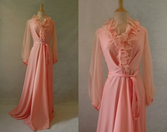 Apricot Ruffle Evening Gown, Maxi - 1970s