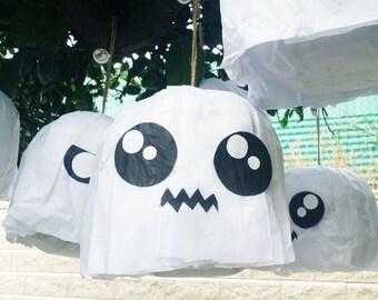 Holiday Pinata | Cute Ghost Pinata | Custom Expressions | Halloween Pinata | Ghost Party Decor | Fun Photo Prop | Centerpiece