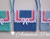 Crochet pattern Lace and Bow bag PDF patt no22 uk and us terms girls purse