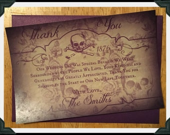 Vintage Skull Apothecary Printed Flat Thank You  Cards