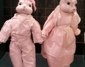Porcelain Bunny Rabbit Pair
