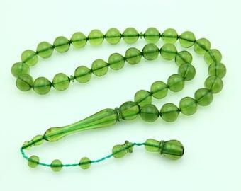 Grassgreen color 33pcs Islamic Prayer Beads Misbaha Rosary Tesbih misbaha 401003