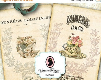 75% OFF SALE CUP Of Tea Digital Collage Sheet Digital Tags old paper digital atc cards digital download digital scrapbooking