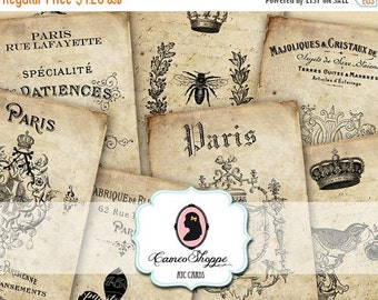75% OFF SALE Digital Collage SHABBY Old French Digital Collage Sheet Atc Cards Digital Tags Paris Instant Download