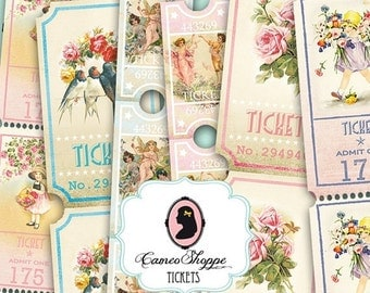 75% OFF SALE LOVELY Spring Tickets Digital Collage Sheet Strips Digital Scrapbooking download