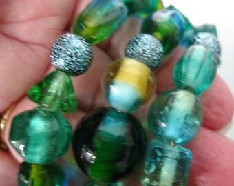 Cuff Bracelet Beaded Bracelet Memory Wire Turquoise Czech Glass Cuff Wrap Glass Beads Jewelry Fall Accessory Art by Kathleen Daughan