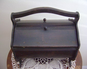 Vintage Wooden Knitting/Sewing Box 1940's