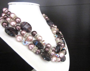 Japan Necklace Multi Strand Glass Pearls & Beads with Aurora Borealis Crystals Pink and Plum Colors
