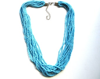 Torsade Necklace 16 Strands Turquoise Glass Seed Beads 19 - 22 Inches