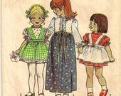 """A Long and Short Sleeve, Long and Short Dress with Suspender-Style Apron Pattern: Toddlers Size 1, Breast 20"""" • Simplicity 5333"""