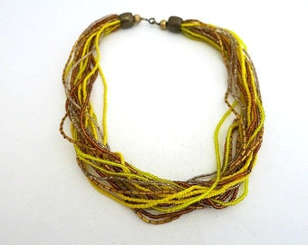 Multi Strand Micro Bead Necklace Yellow and Gold