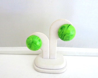 Green Marbled Lucite Earrings West Germany Clip On