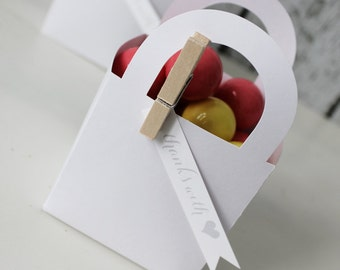 White Paper Favor Bag with Handles (Set of 12) - The Paper Doll