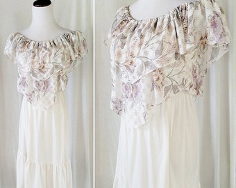 CLOTHING SALE Vintage Floral Lacey Cream Maxi Dress. Small / Medium